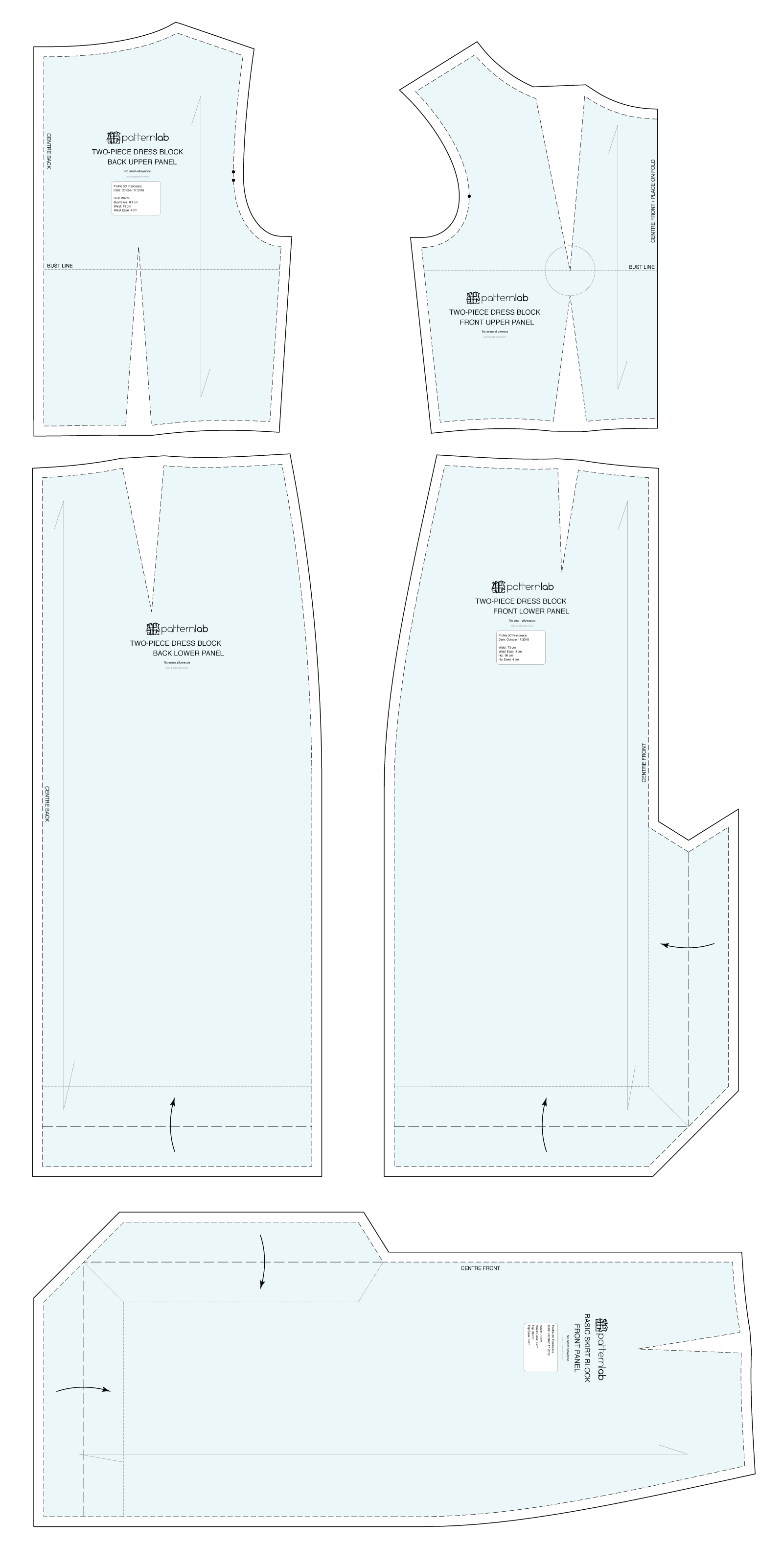 two-piece-bodycon-dress-sewing-pattern-overview