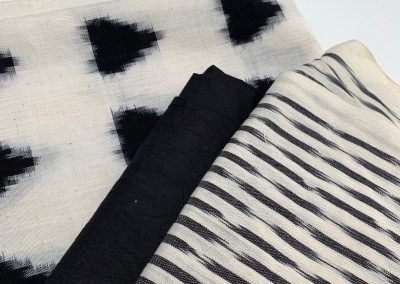 japanese-ikat-cotton-fabric-slection-black-and-white-spot-and-stripe