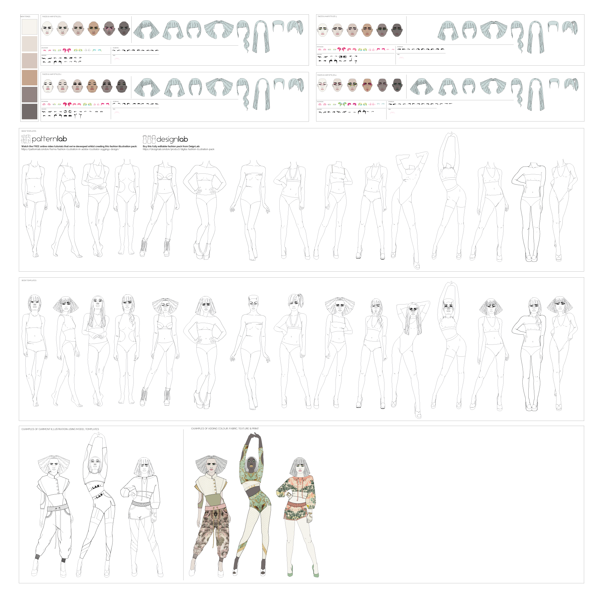 digital fashion illustration pack model templates PatternLab