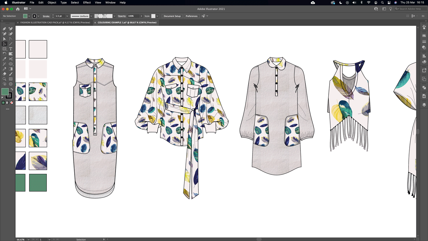 fashion spec drawing free tutorial adding colour texture and print